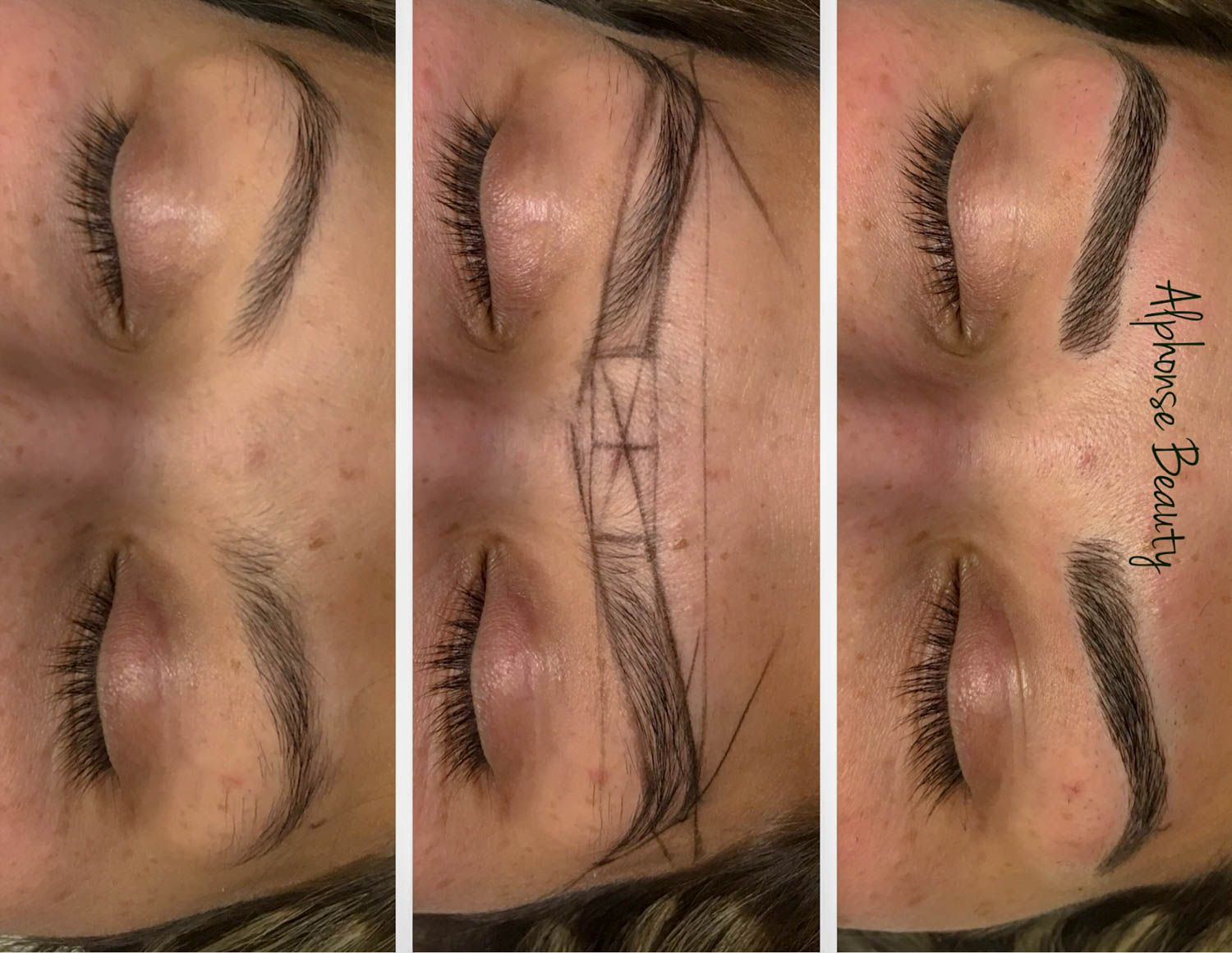 Microblading Procedure Steps with Mapping at Alphonse Beauty Microblading Studio