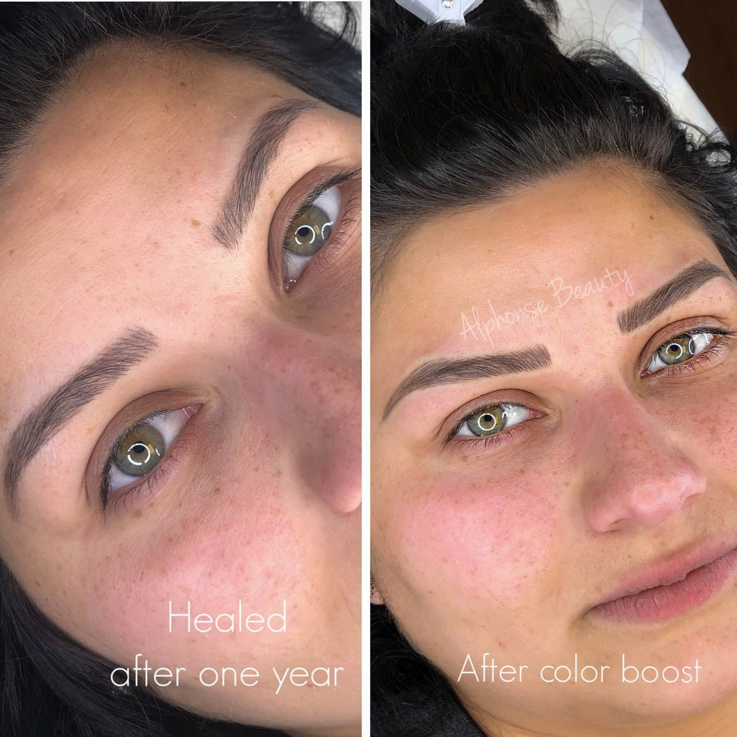 Eyebrow Microblading Healed Results with Touch-Up Before and After
