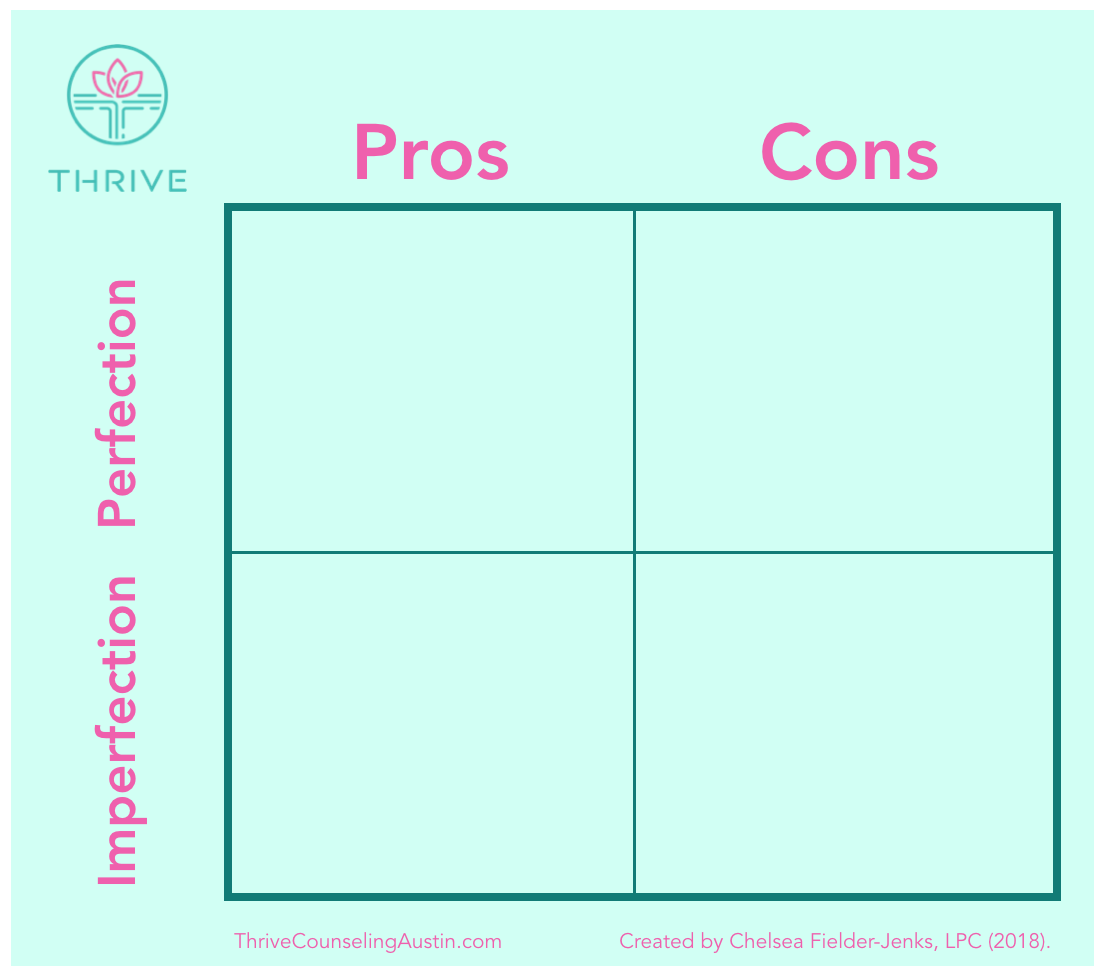"""CONSIDER THE PROS AND CONS OF YOUR PERFECTIONISM TO HELP OVERCOME IT. """"PROS AND CONS MATRIX"""" BY CHELSEA FIELDER-JENKS, COPYRIGHT 2018."""