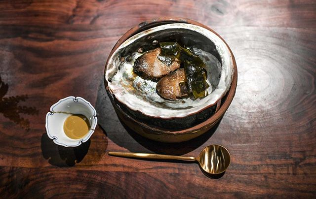 Monterey Bay abalone with a sauce of its livers and capers