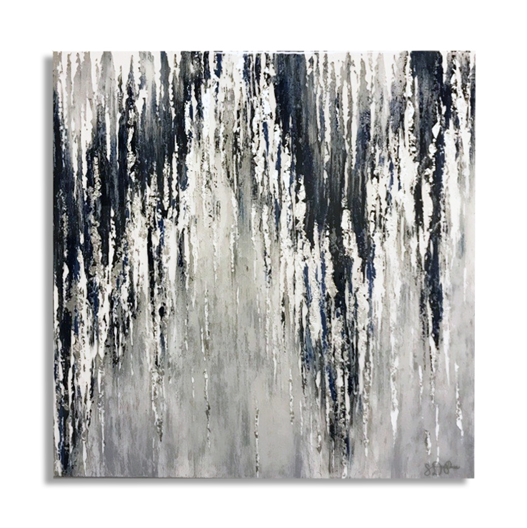 "Cadence - PRIVATE COLLECTION48""x48'Genuine Silver Leaf, Acrylic and Resin"