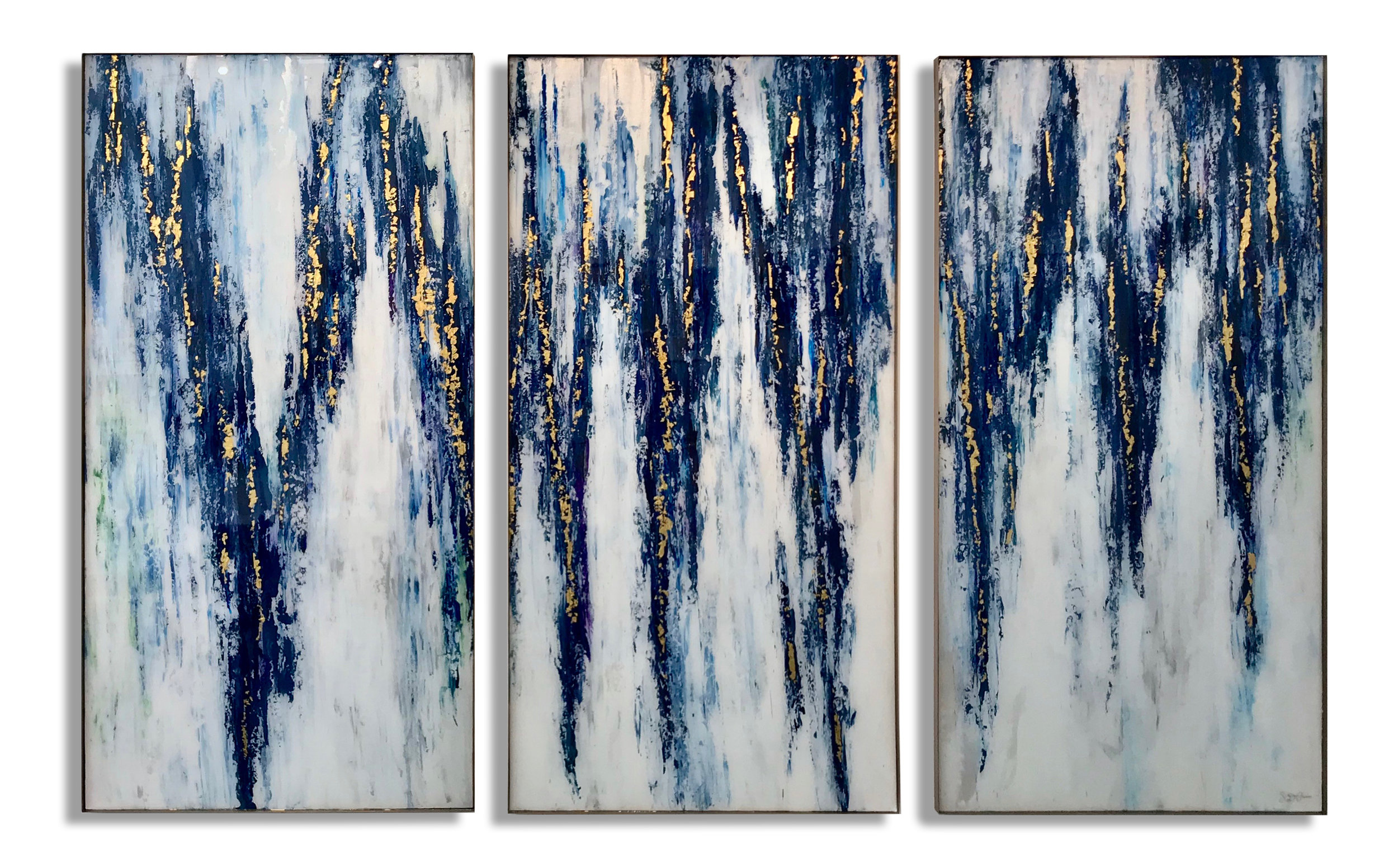 "OFF THE VINE  AVAILABLE FOR PURCHASE @ AC Marriott Hotel Tampa 72""H x 36""W each TRIPTYCH 24K Gold Leaf, Acrylic and Resin Europe Collection: Inspired by Saint Emilion, Bordeaux, France"