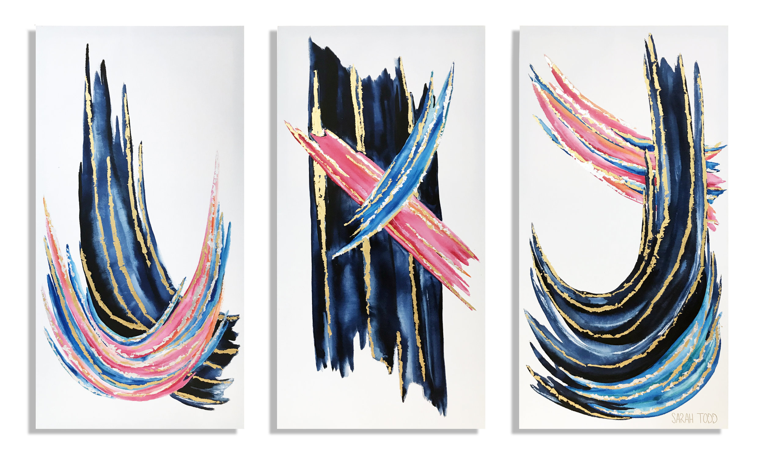 "I FEEL PRETTY  AVAILABLE FOR PURCHASE @ Sarah Todd Studio 48""H x 24""W each TRIPTYCH Watercolor, 24K Gold Leaf and Genuine Silver Leaf on Canvas"