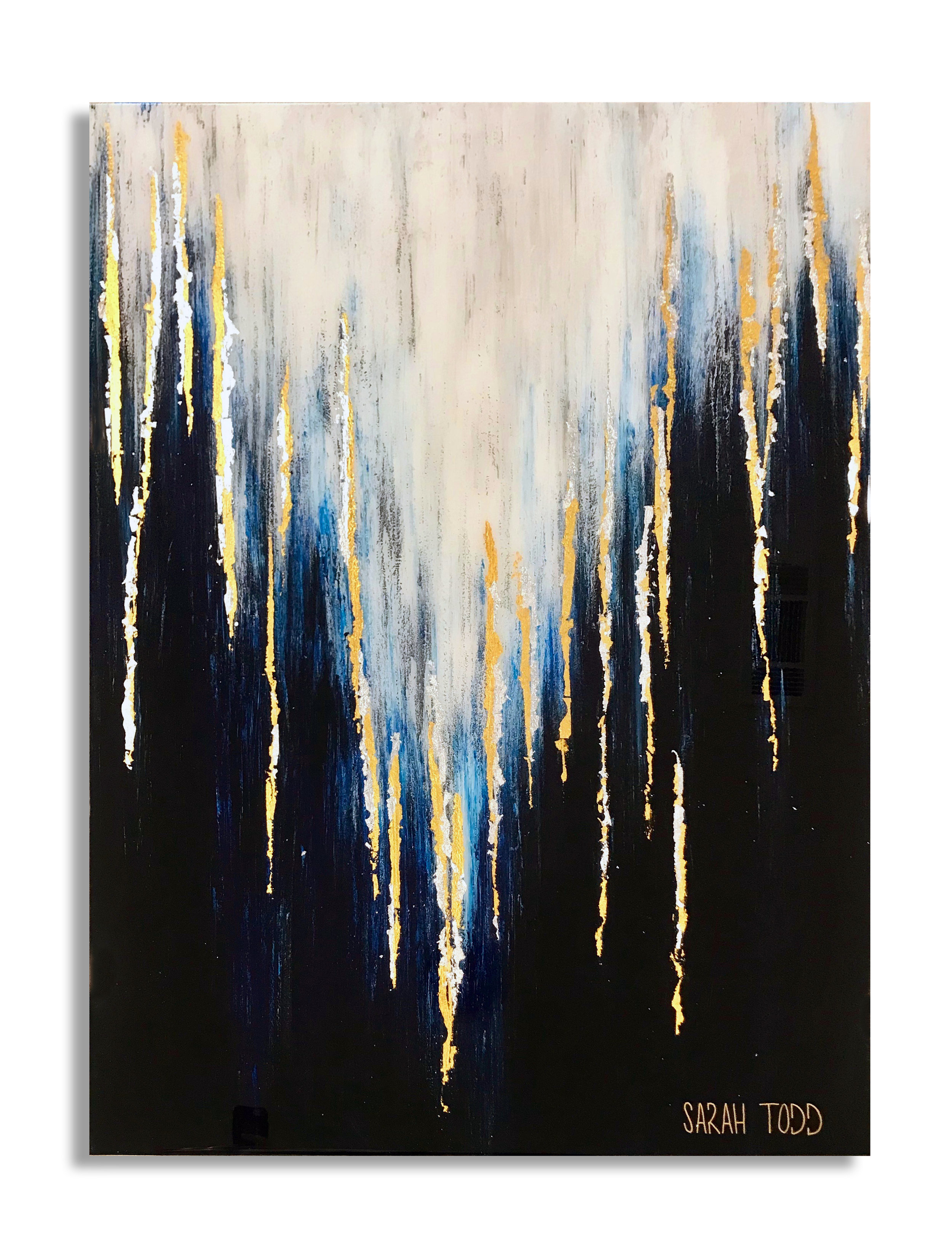 "OCEANS APART  AVAILABLE FOR PURCHASE @ Sarah Todd Studio 40""H x 30""W  24K Gold Leaf, Genuine Silver Leaf, Acrylic and Resin"