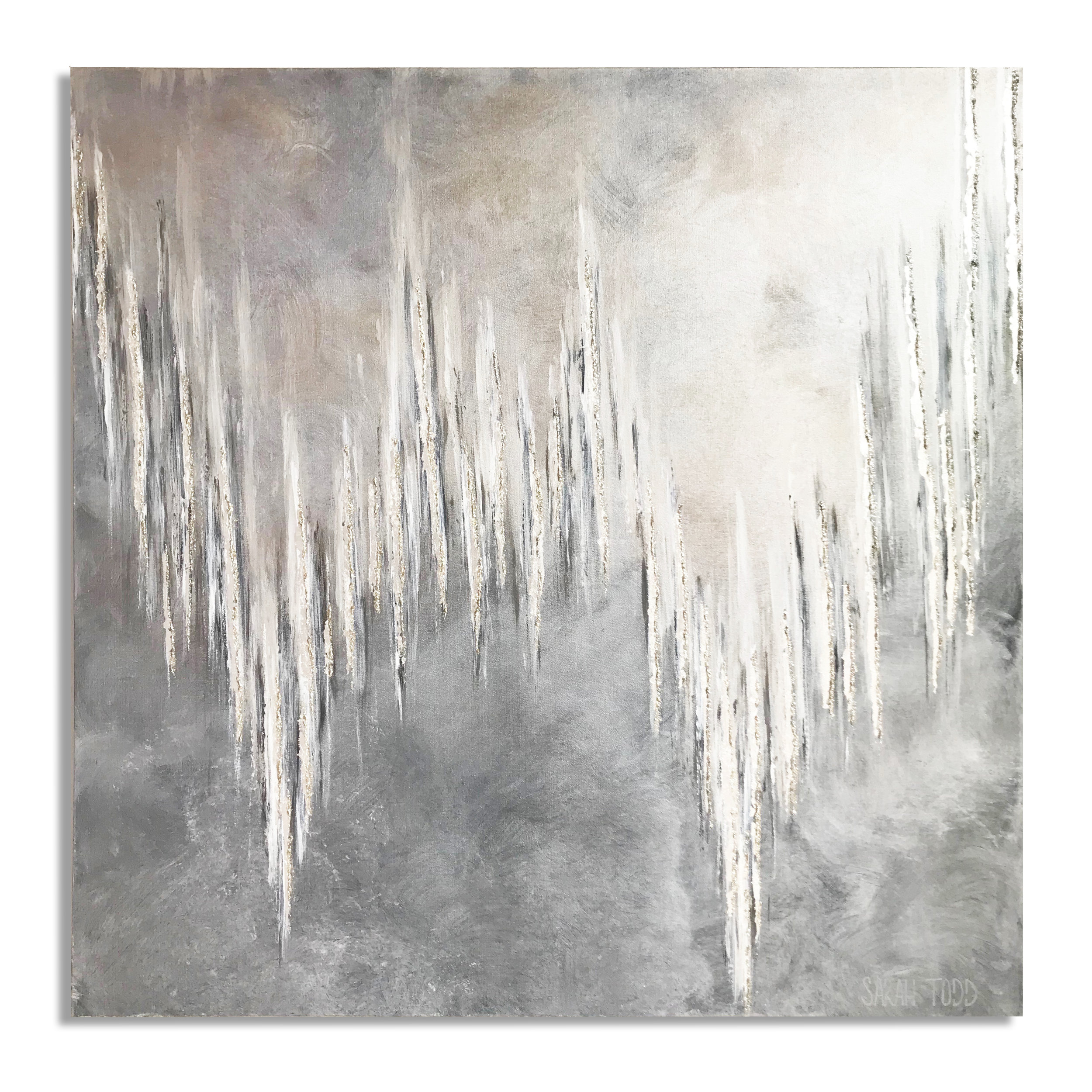 "SILVER ASH  AVAILABLE FOR PURCHASE @ Sarah Todd Studio 48""H x 48""W  Genuine Silver Leaf & Pearl Mica on Canvas"