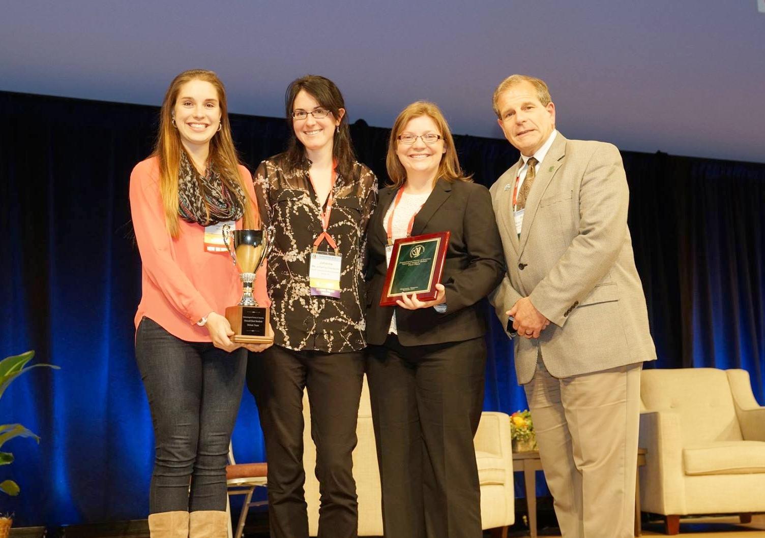 Pictured (L-R): Sophia Webster, Johanna Elsensohn, Jennifer Baltzegar, Dr. Philip Mulder (2015 ESA President)