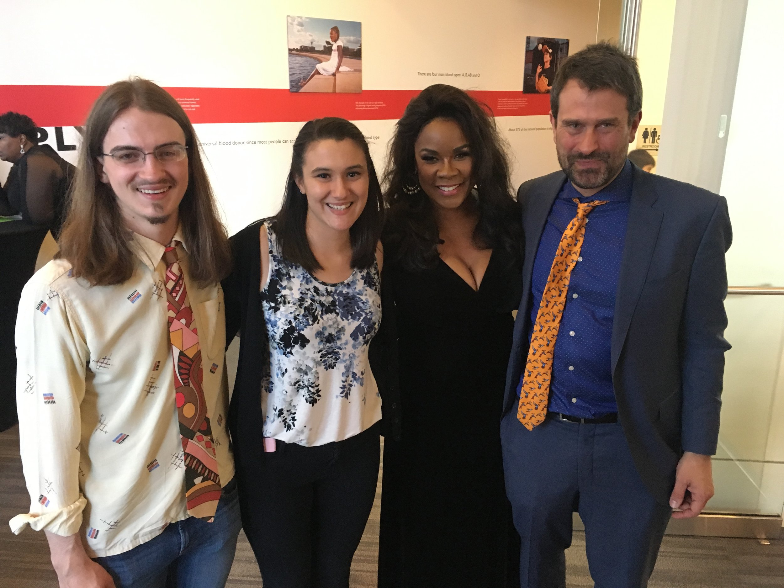 From left: Clarke, singer Ali Sarnacchiaro, singer Denyce Graves (after her performance in The Summer King), and Dan Sonenberg (composer of The Summer King)