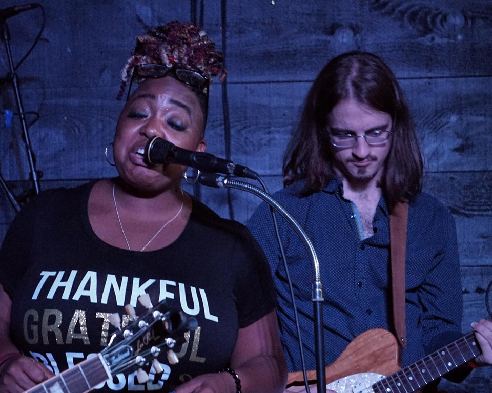 Clarke on stage at a blues jam with Annika Chambers, North Atlantic Blues Festival 2019.  Photo: Brian McLean