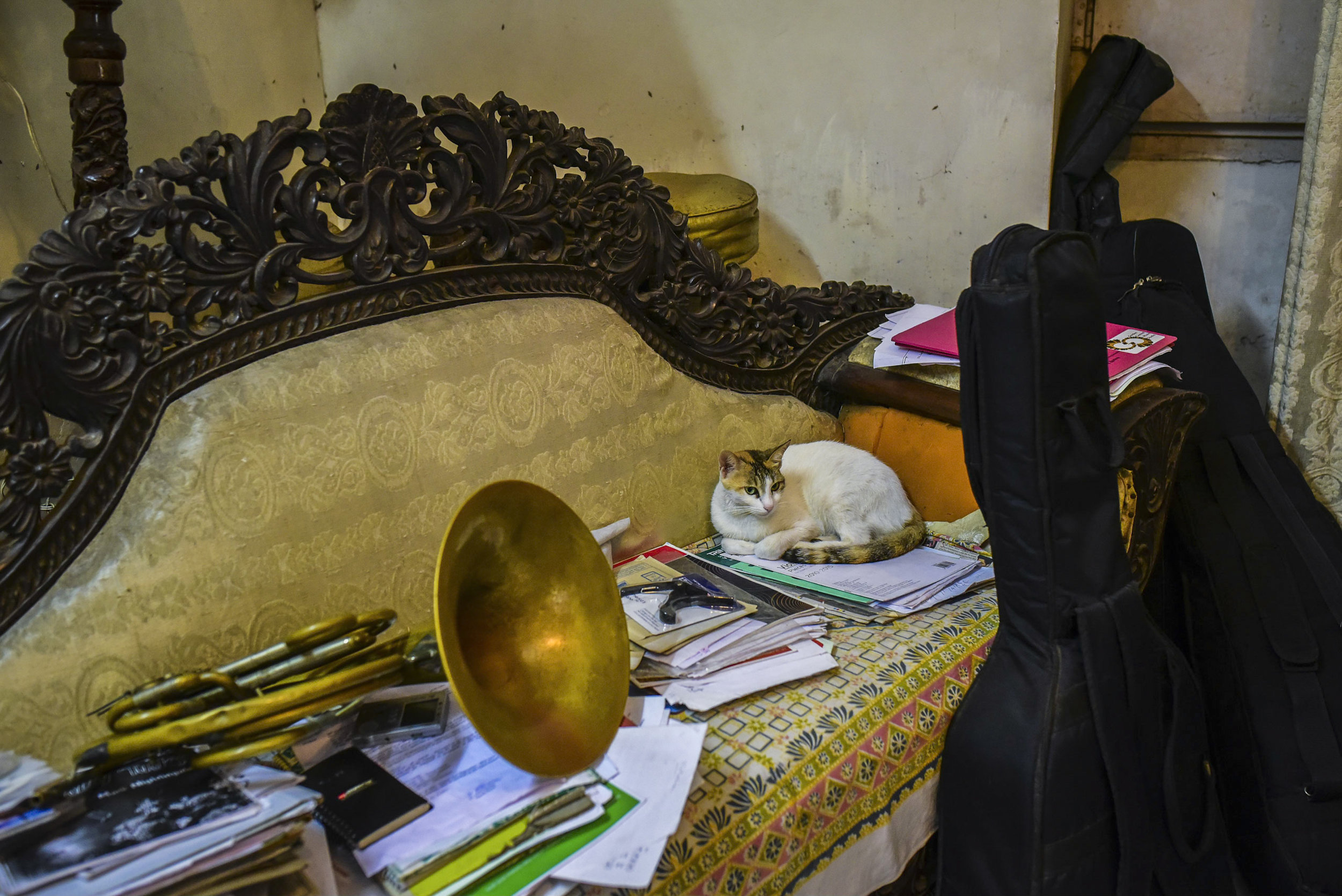 An ongoing documentation of the brass musicians of Goa.  At Rui Lobo's home, Panjim.