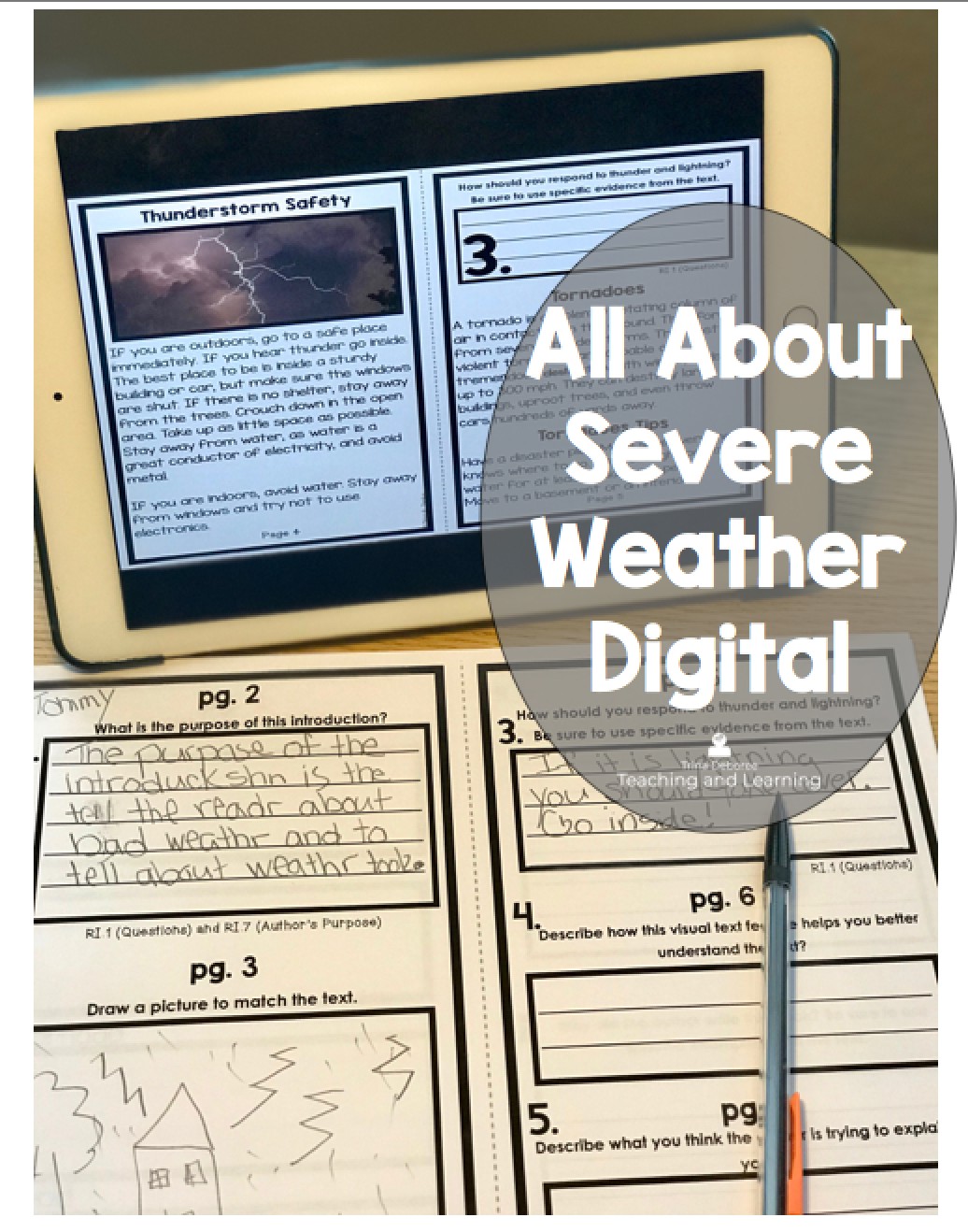 All About Severe Weather Digital Version   All about severe weather activities for 2nd graders includes this handy product that discuses natural disasters and how to prepare for bad weather during a watch and a warning. All About Severe Weather Digital Version is the same interactive reader but now can be used in your one-to-one or digital center classrooms. Click on the link to find out more.