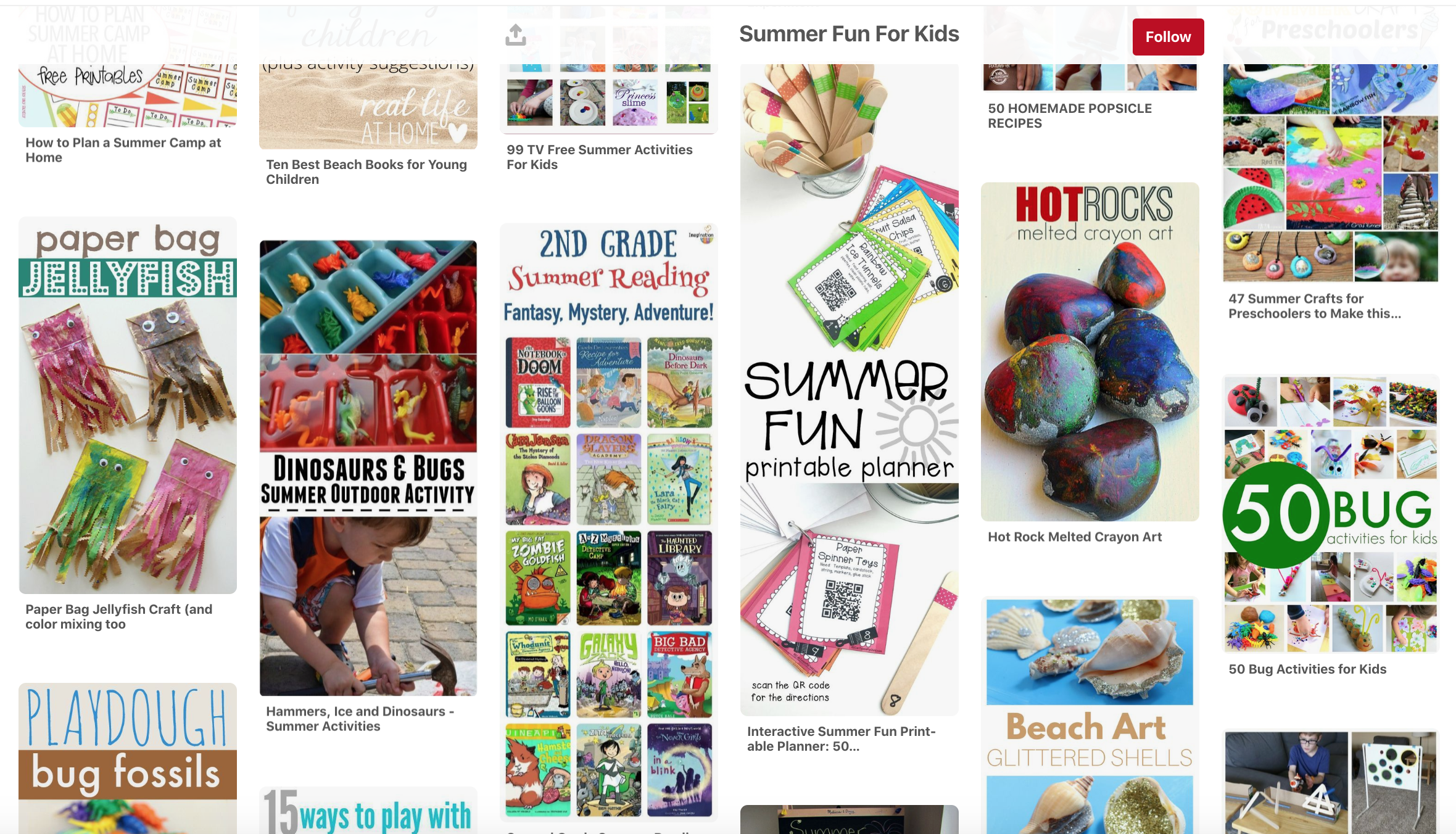 This fun board has more game ideas, book ideas, science activities, and summer food. This board is one of my favorites.