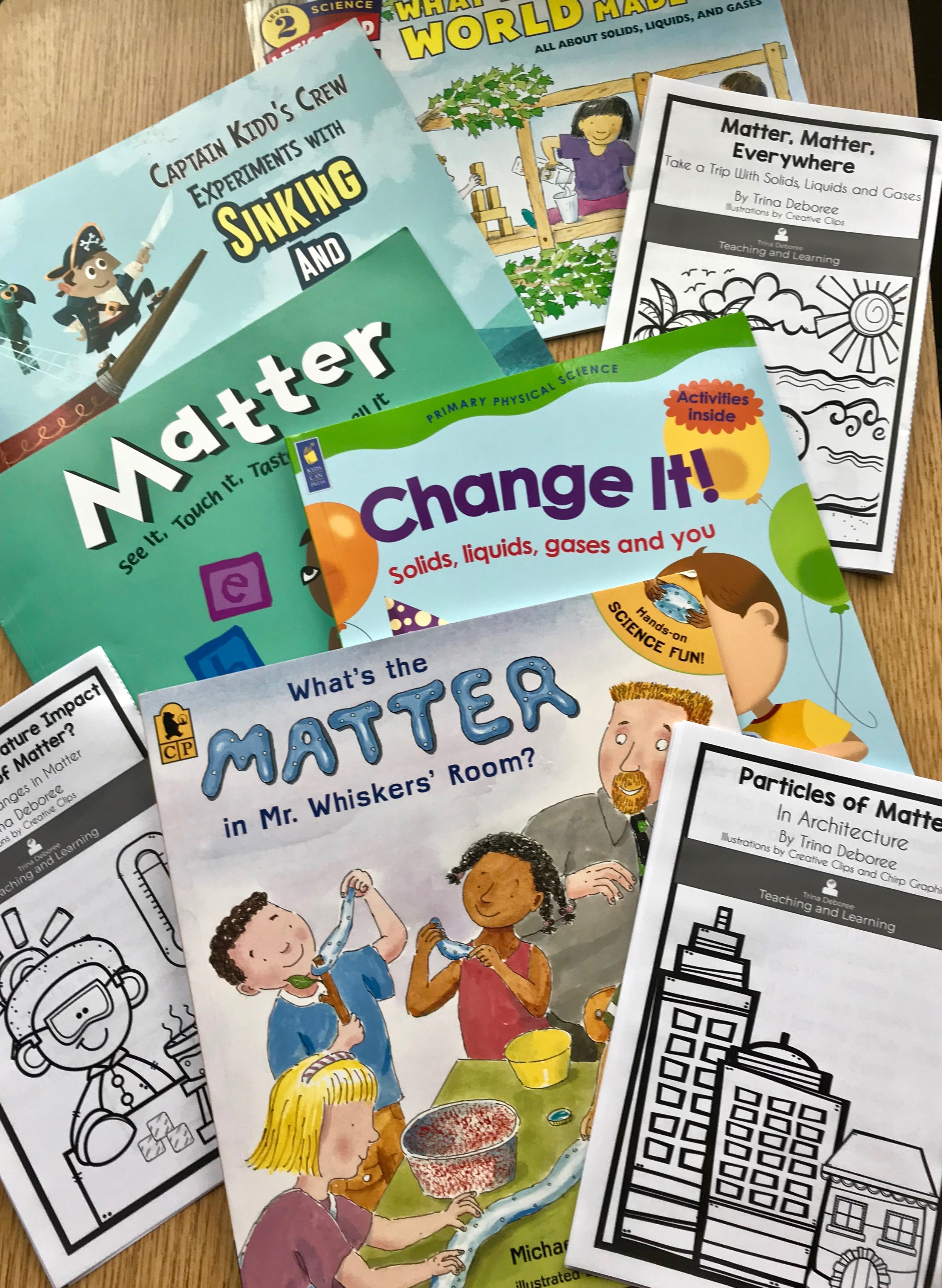 Books that teach matter (solids, liquids, and gases). #whatismatter #physicalsciencematter #matterbooks #solids,liquids,gasesliterature