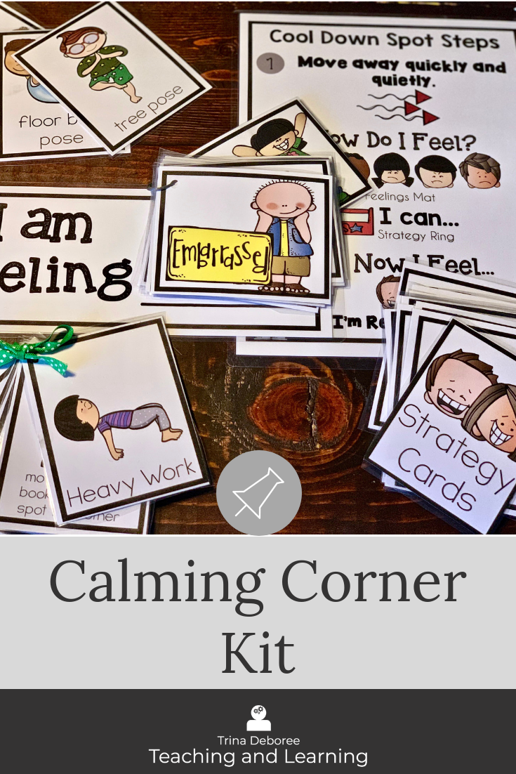 Cool down kit is perfect for a calming corner and to give children a way to express their feelings and strategies to use to help them cool down. #calmingcorner