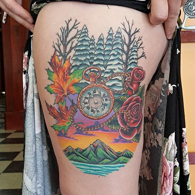 All healed #seasonstattoo that I had fun making on a great client! As time flies and the world turns .. #heavydutytattoo #ogdentattoos #utahtattoos #brandonlewismachines #ogden #tattoo #seasons #colortattoo #tattooedgirls #utah #utahtattoo #legtattoo #winter #spring #summer #fall #tvtattooconvention #scottrichardsontattoos