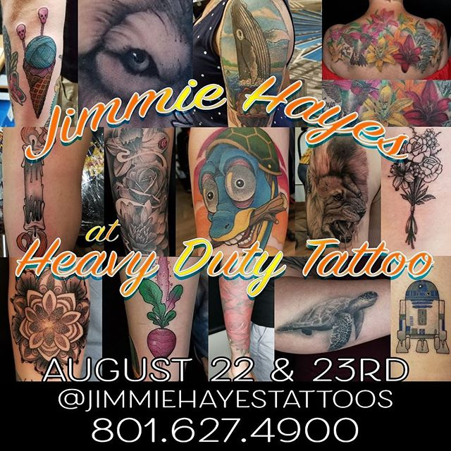 Our good friend @jimmiehayestattoos will be at the shop this week.  Don't miss your chance!
