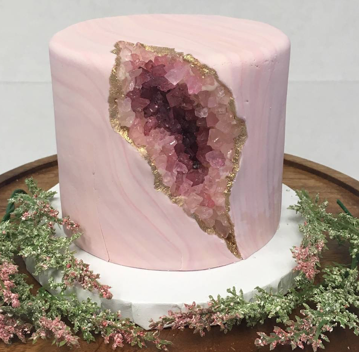 The now-infamous geode rock cake from Nadia Cakes.  Image courtesy of the Facebook page of Nadia Cakes.