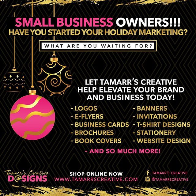 Have you started your holiday marketing yet? What are you waiting on? Let @tamarrscreative help #elevate your brand today! Shop now: www.tamarrscreative.com  #branding #elevateyourbrand #holidaymarketing #marketing #bosschicks #richchicksociety #businesscarddesigns #blackgirlmagic