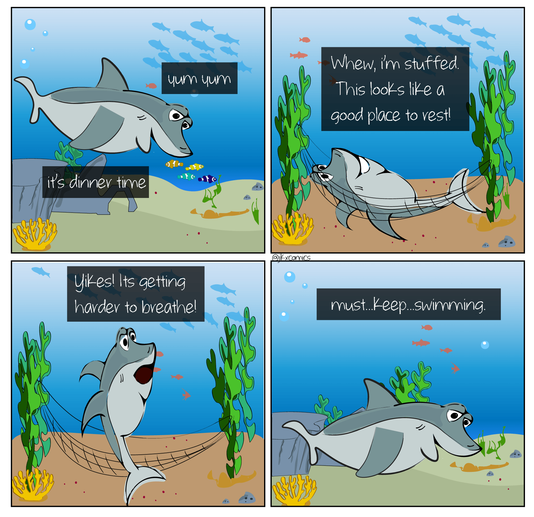 A huge  MYTH  about sharks is that they will die if they stop swimming! Sharks do not have to continuously swim to breathe or to stay alive. In fact, many shark species can use two processes to obtain oxygen directly from the surrounding ocean water. These processes are called buccal pumping and ram ventilation. During buccal pumping sharks use their cheek muscles to filter water into their mouths and over their gills. During ram ventilation, sharks rapidly swim and actively force water into their mouths for processing. Many modern sharks are believed to use ram ventilation only, though some have still been caught resting on the ocean floor! Scientist are still learning how these sharks adjust to low oxygen conditions.