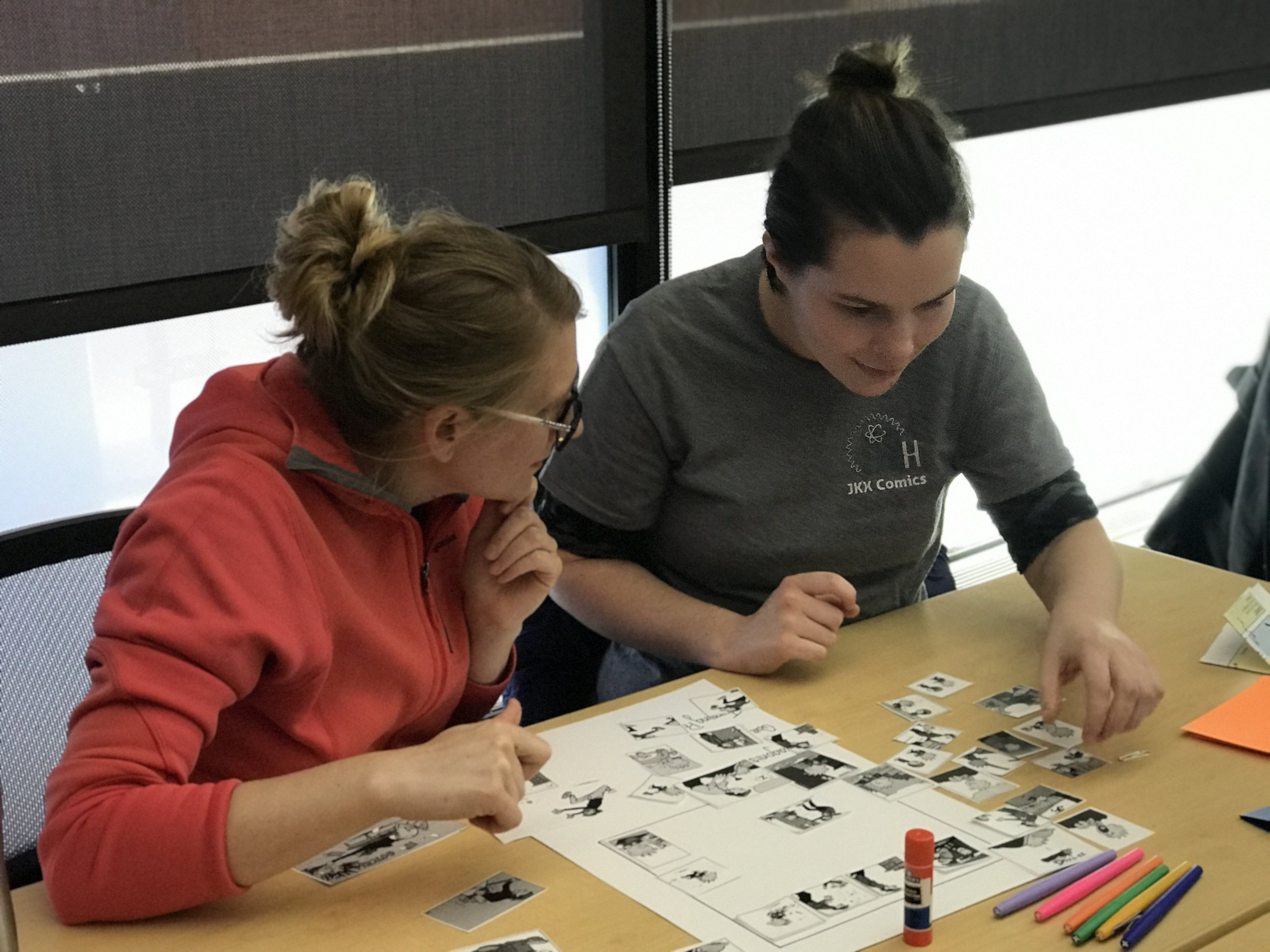 Hallie and Stephanie at the Gaining STEAM! cartooning workshop
