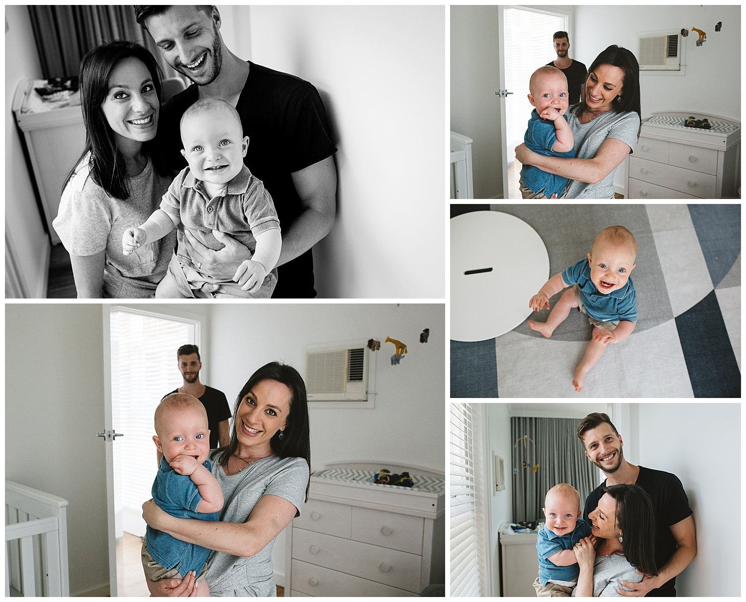 Caufield baby and family photoshoot - mum holding baby