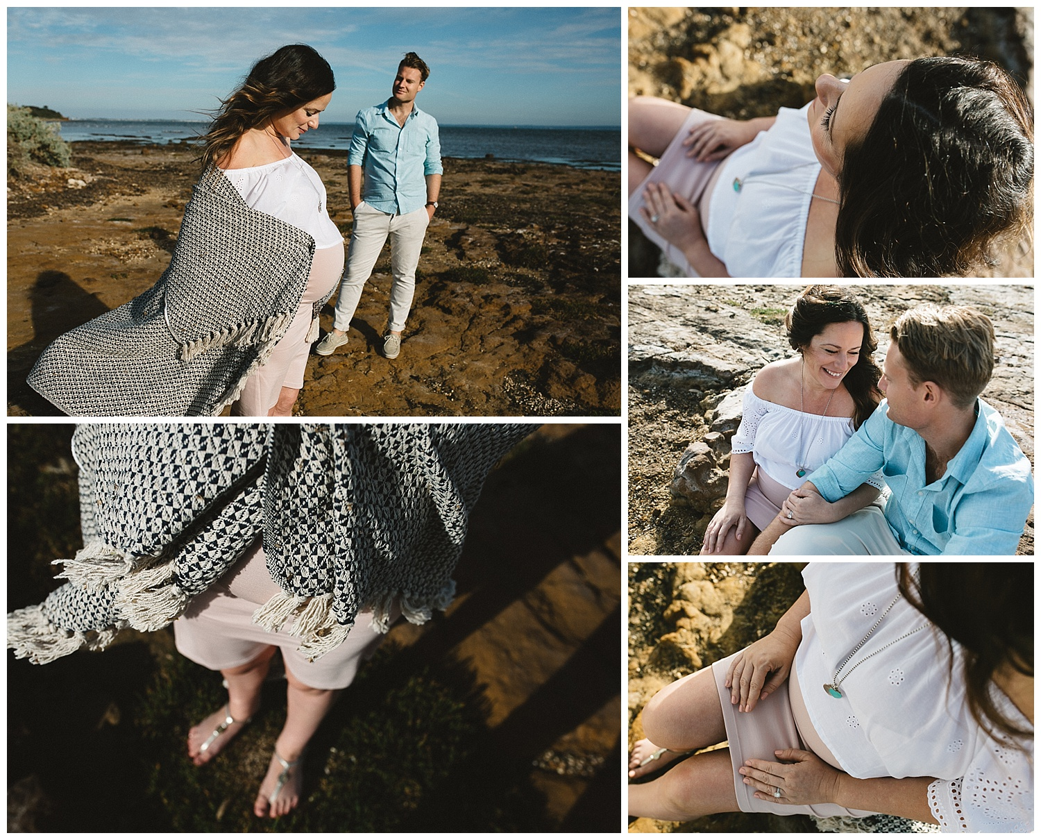 bayside beach in melbourne with couple and a pregnancy photography session