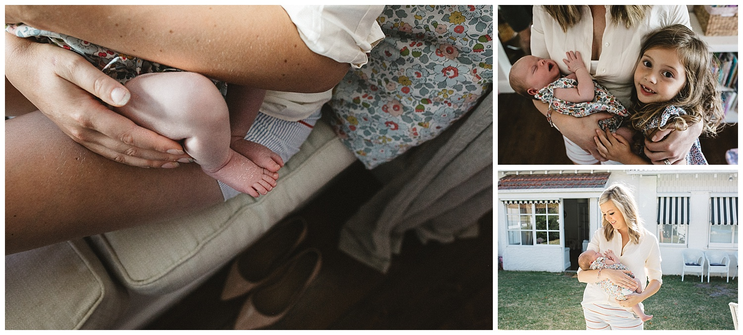 lifestyle family photography in elwood. details of baby feet and sibling photography