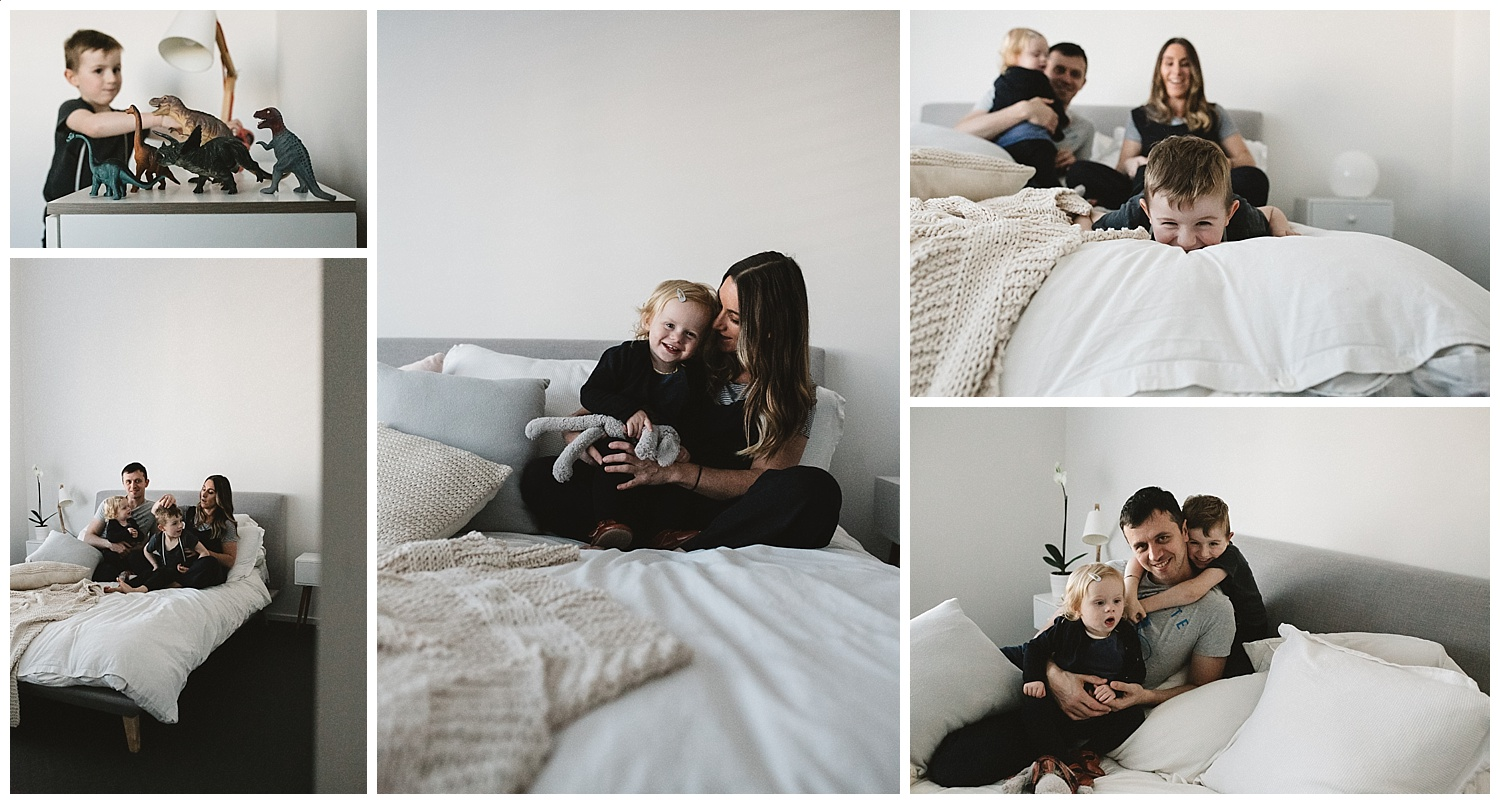 family having fun in their home and newborn photography in elwood