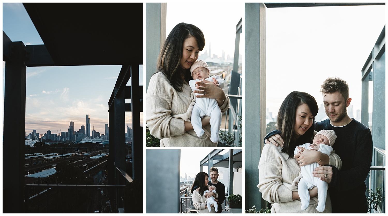 inner city port melbourne newborn family portrait