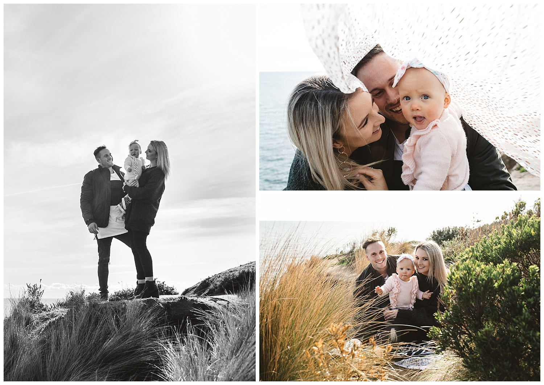 family photo outdoors in melbourne beach monrington and rosebud family portrait
