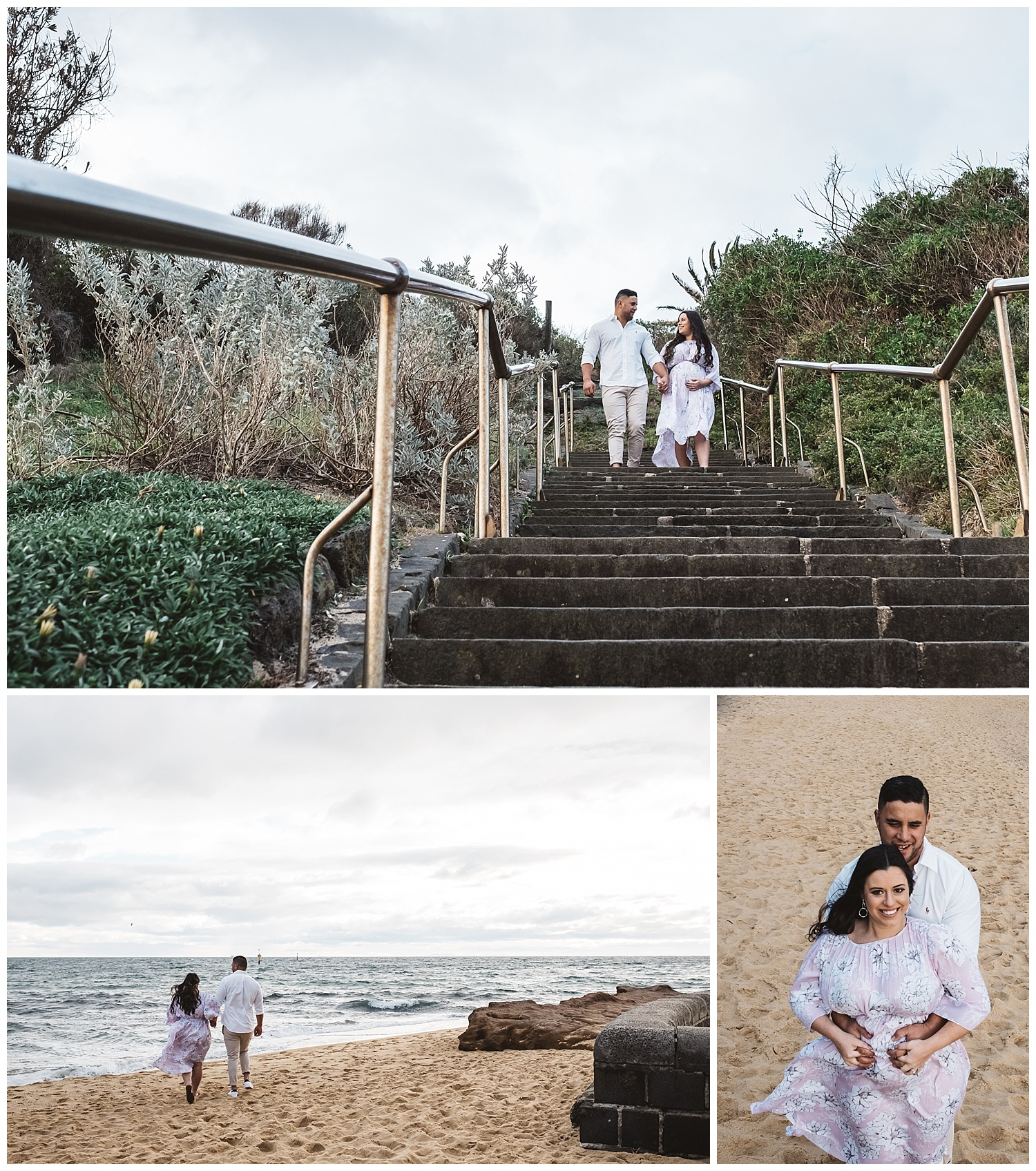 stormy skies are great for maternity photos in Port melbourne