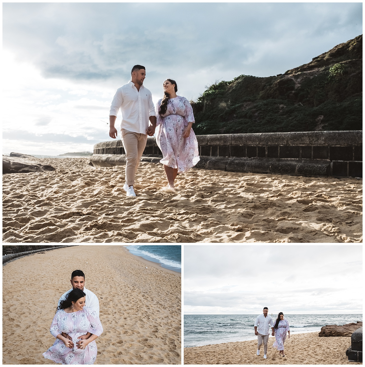 lifestyle family and maternity photos with genuine emotions at the beach in Port Melbourne