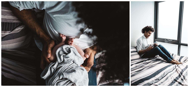 Newborn lifestyle photos of a newborn baby at home in Malvern east.