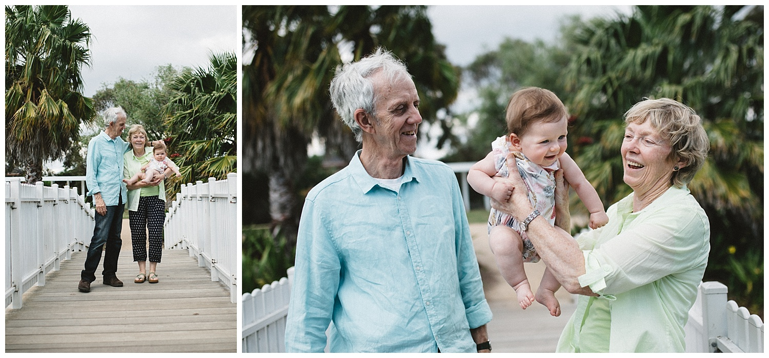 Best lifestyle family photographer in Melbourne, portraits with grandparents outdoors at a local Mentone park