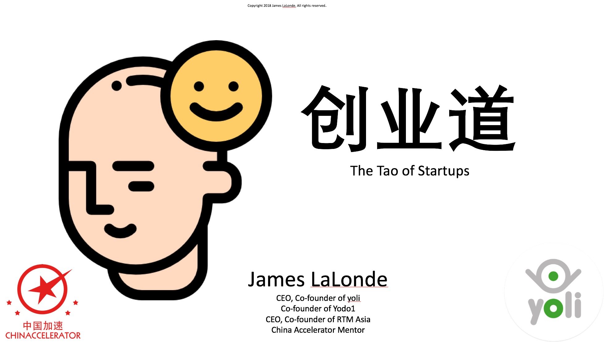 "This speech ""Tao of Startups"" is one I gave to an audience of entrepreneurs and investors on March 23, 2018 at the China Accelerator 8x8 Event in Beijing. The purpose of the talk was to take the audience through the entire ""cycle"" of creating a startup and discuss what is important (and what is not important) during each phase. Doing a startup is difficult and can be extremely stressful. It can also be extremely fulfilling. I wanted to lead the audience through a ""guided meditation"" of sorts to put them in the proper frame of mind for doing a startup—to look at the process from a holistic point of view. I hope I was successful in some small way in accomplishing this!"