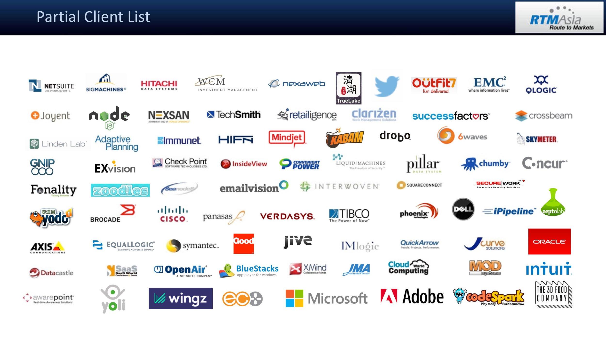 RTM Asia Partial Client List