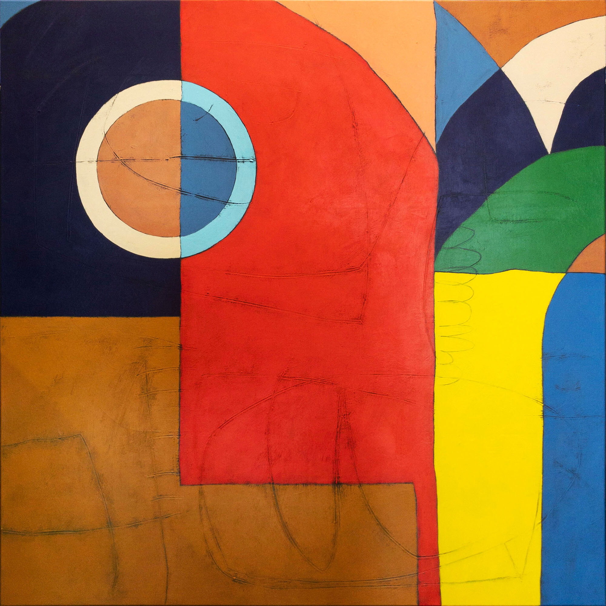 Mancala And Chatting Bird.  Acrylic on canvas, 122cm x 122cm.