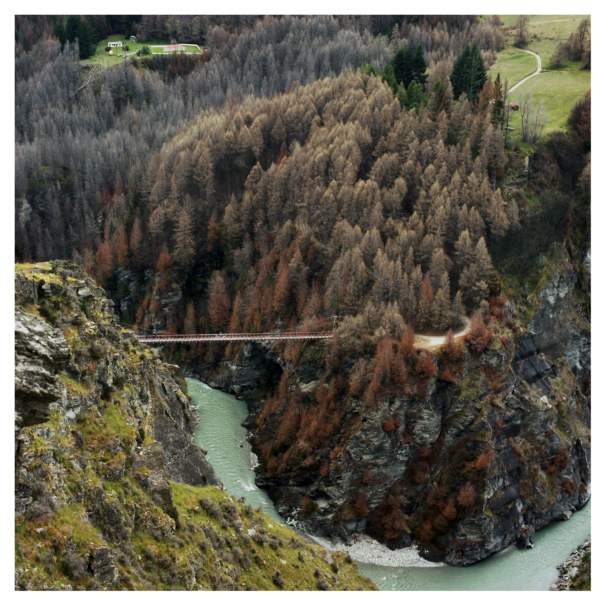 The sport of Bungee Jumping was invented in New Zealand by A.J. Hackett.  Contrary to popular belief, this bridge was the first ever bridge to be bungy jumped off.