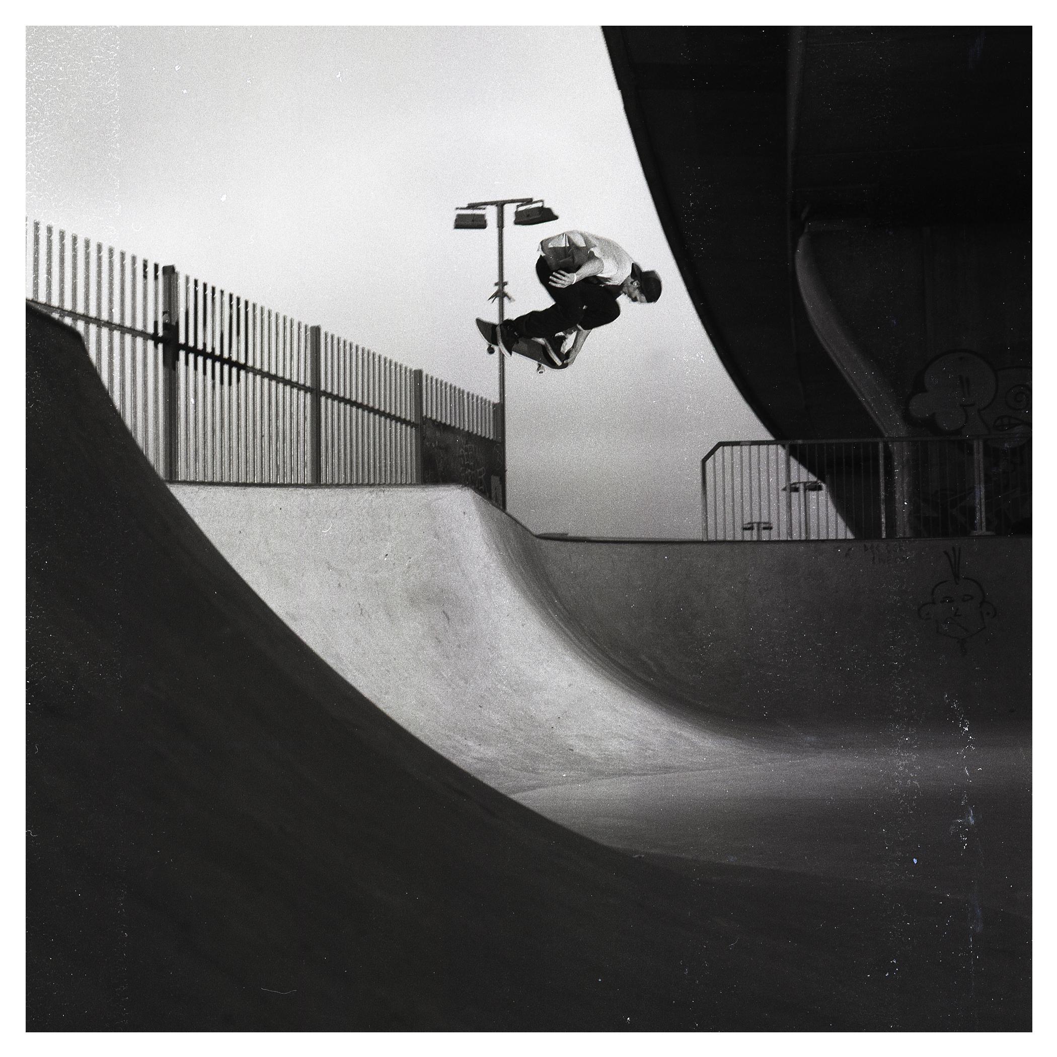 Denis Lynn backside air over the hip - Bridges Skate Park.