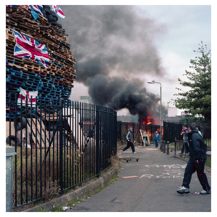 Anti Internment bonfire on Belfast's Divis Road.