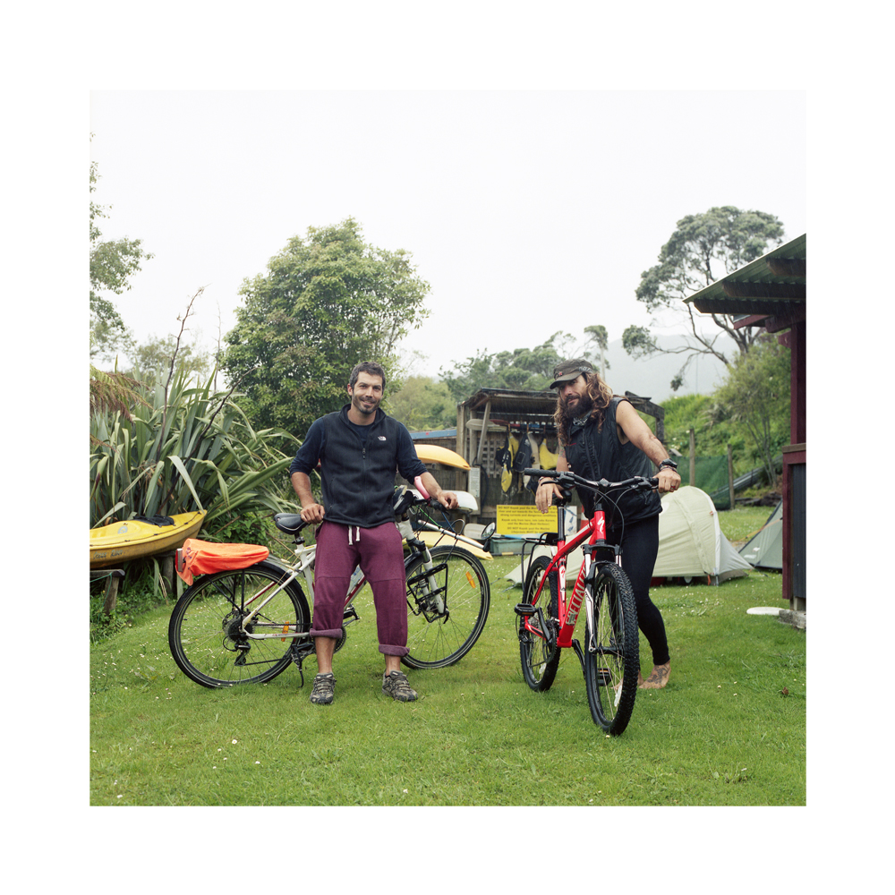 Alfonso Garcia Valcroel (left) and Mauel Lopez (right) from Murcia, Spain. - Global Village Backpackers, Greymouth.  Alfonso & Manuel are cycling from Cape Reinga to Bluff (the most northerly point of Aotearoa to the most Southerly), a total of 3,400km.  They cover roughly 110km a day and largely camp by the roadside, but on occasions when needs must they pitch up their tents in a backpackers hostel to make use of the facilities available.