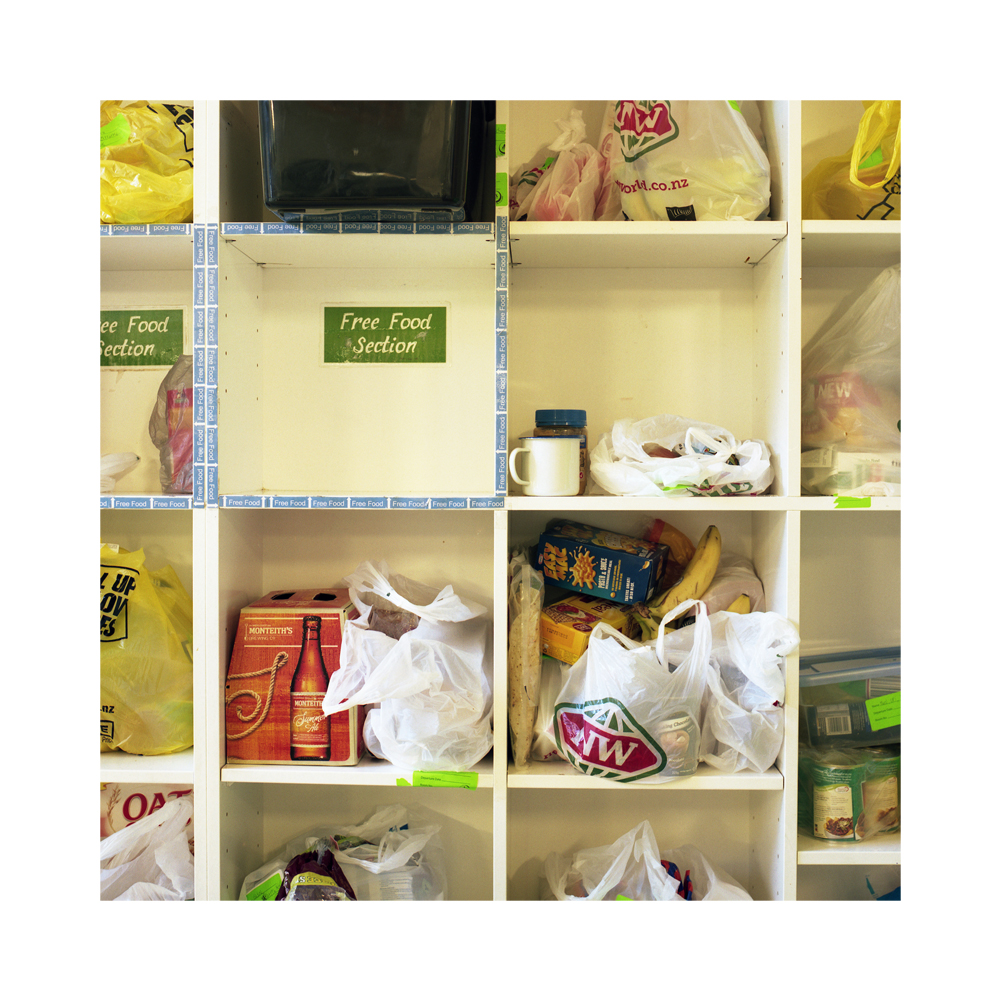 Food storage cupboards - YHA Hostel, Wellington.  Given the transient nature of the hostel's occupants and their need to travel lightly, it is common place to leave behind unwanted food itms for the remainder of the guests.