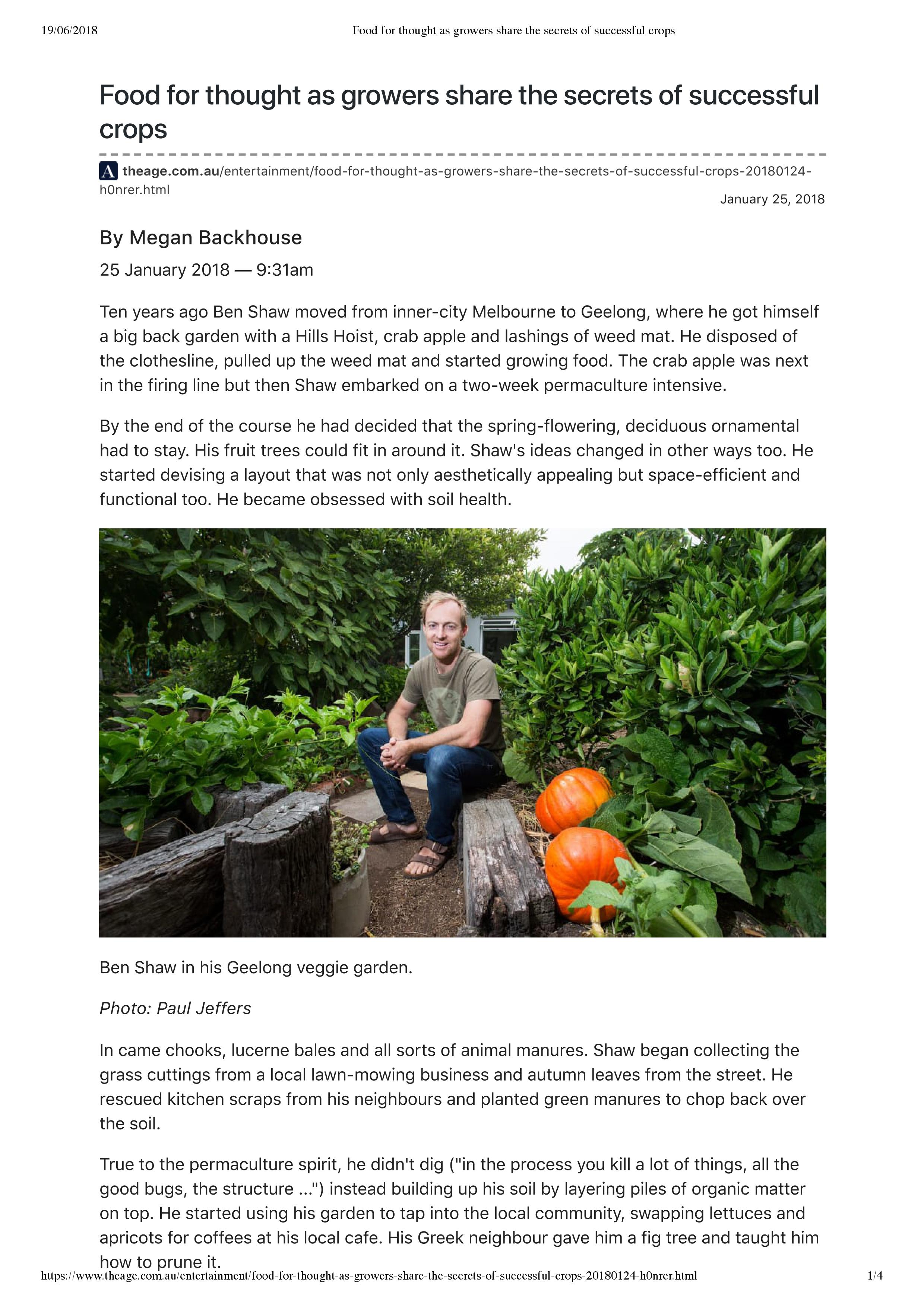 Ben Shaw Permaculture, Geelong for The Age.