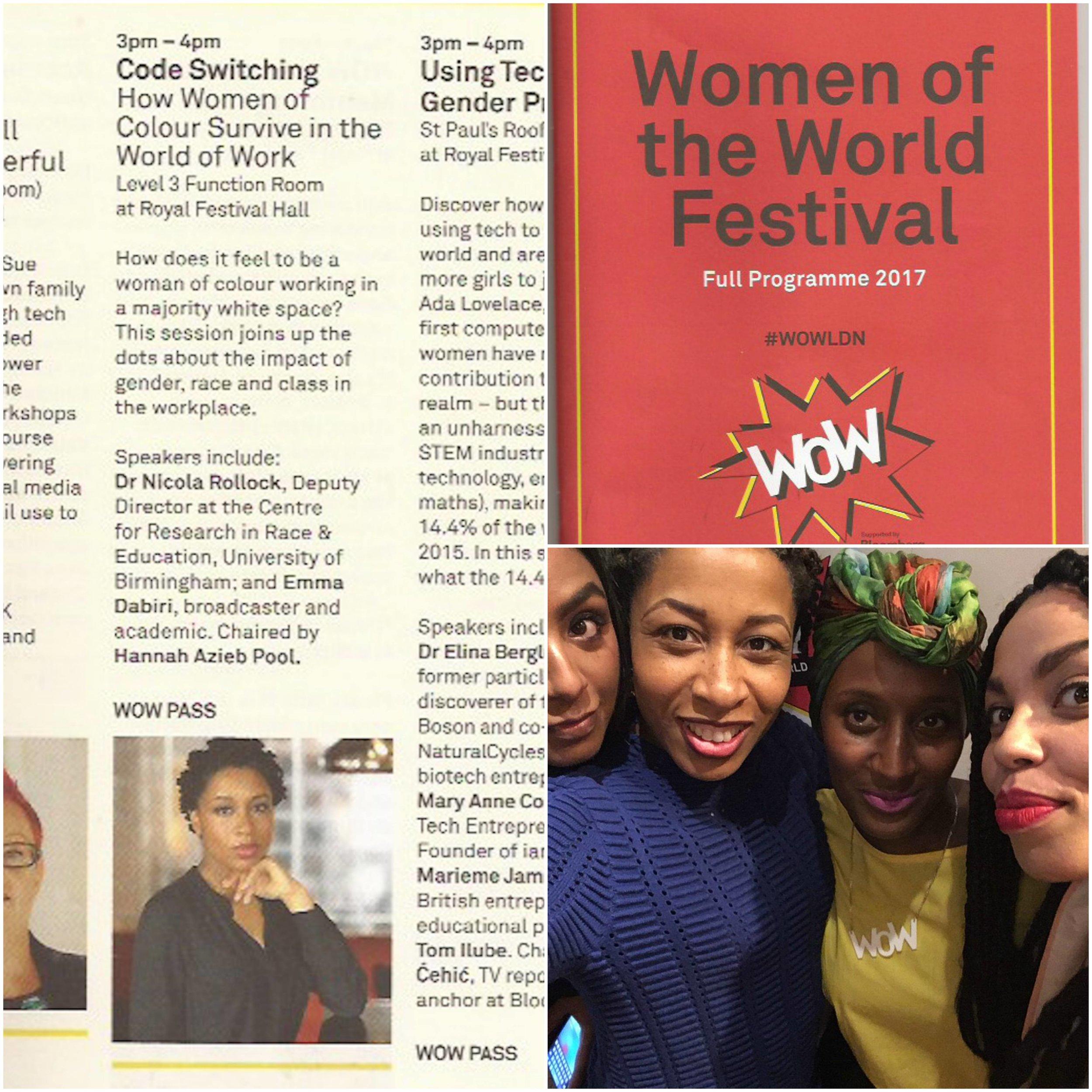 Speaking at the W.O.W London Festival (photo: Anita Bhagwandas, Hannah Azieb Pool, Emma Dabiri (March 2017)