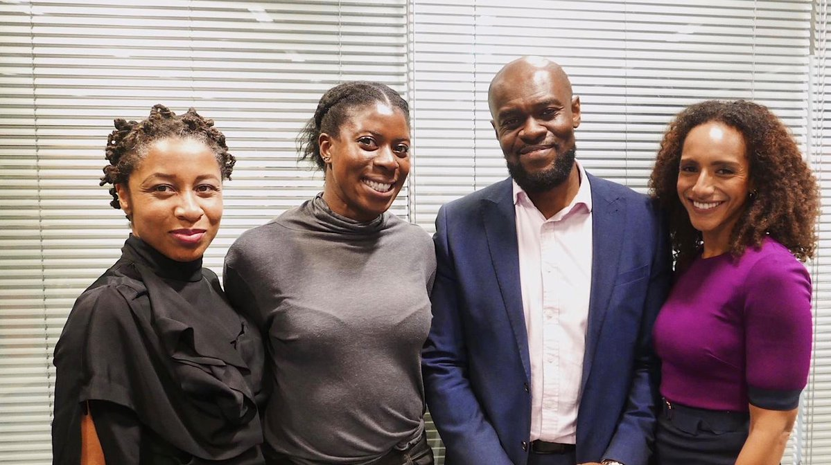 Wellcome Trust 'Dr Nicola Rollock in conversation with Afua Hirsch' pictured with Christine Ohuruogu & Tunde Agbalaya (Nov18)
