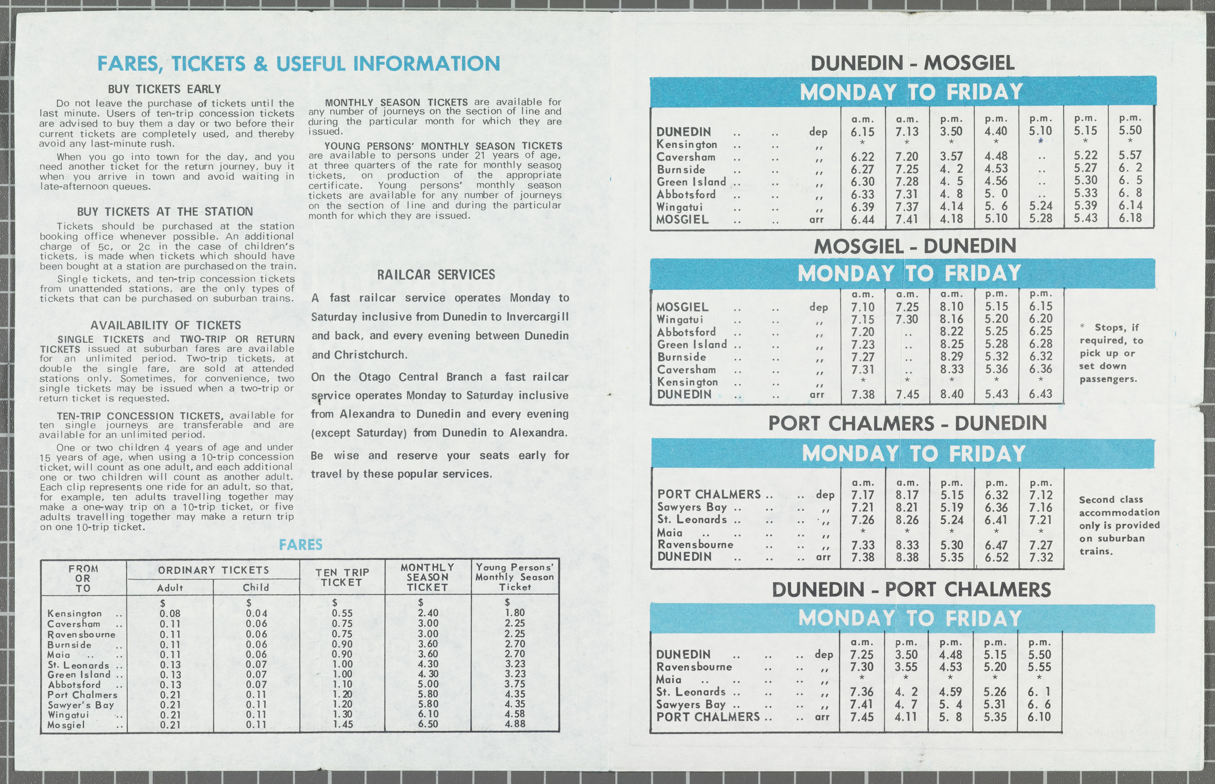 Dunedin Suburban Timetables - Hocken Collections