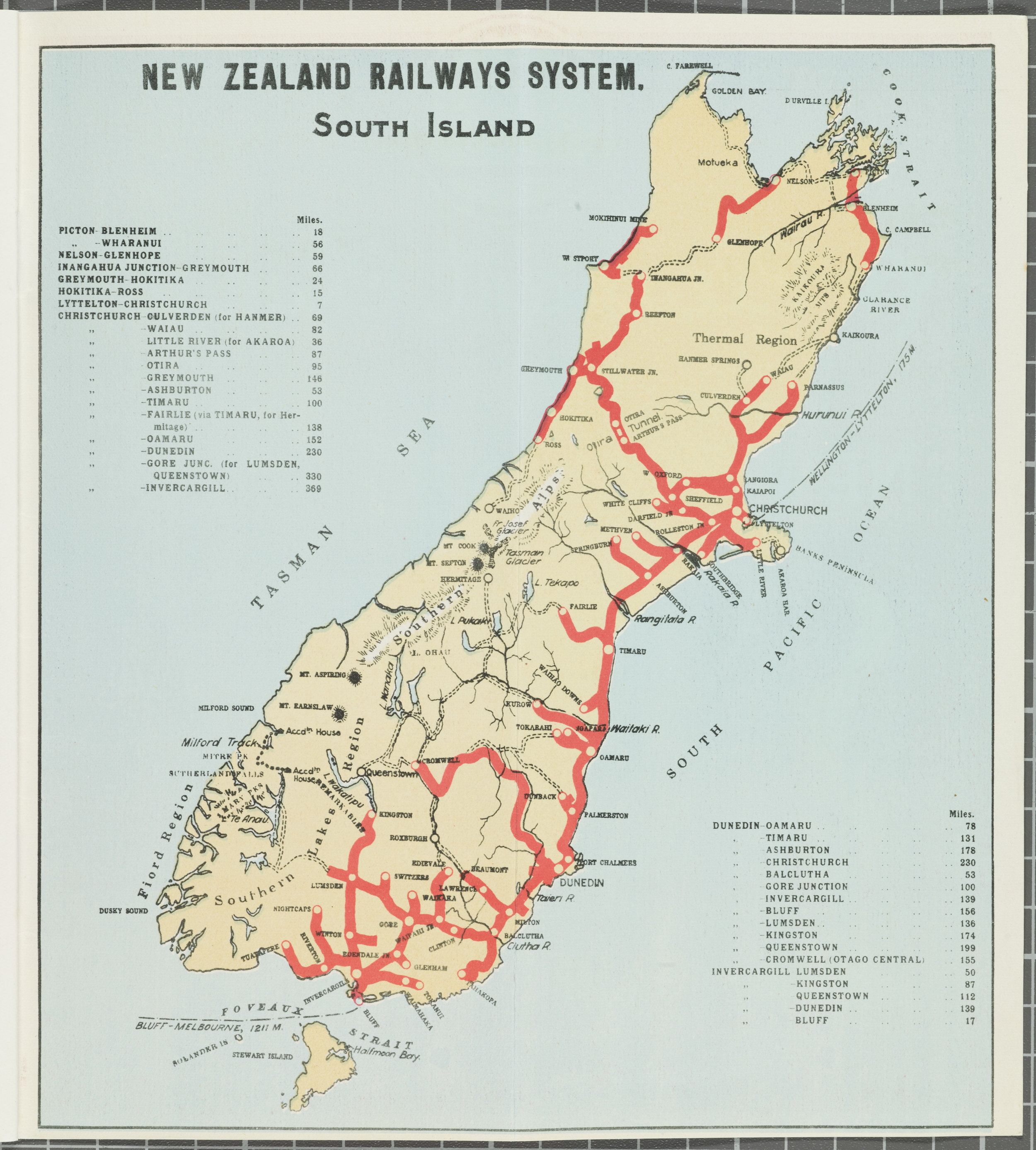 South Island Rail Network 1930s - pre finishing of the line to Picton - Hocken Collections