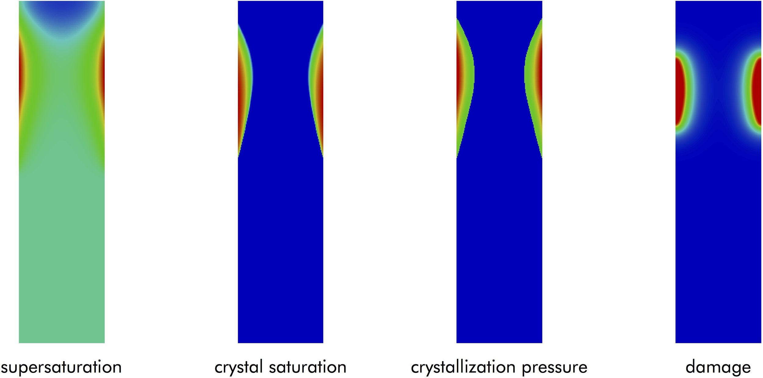 This work proposes a chemo-hydro-mechanical model for computer simulation of cracking and damage in porous materials from crystallization in pores. This phenomenon appears in many problems including weathering of geologic materials, and it involves very intricate physics whereby reactive flow interacts with deformation and fracture. This figure shows the results of our coupled chemo-hydro-mechanical simulation of salt damage in a stone, which have been the subject of numerous experimental studies such as Scherer (2004), CCR 34:1613–1624.