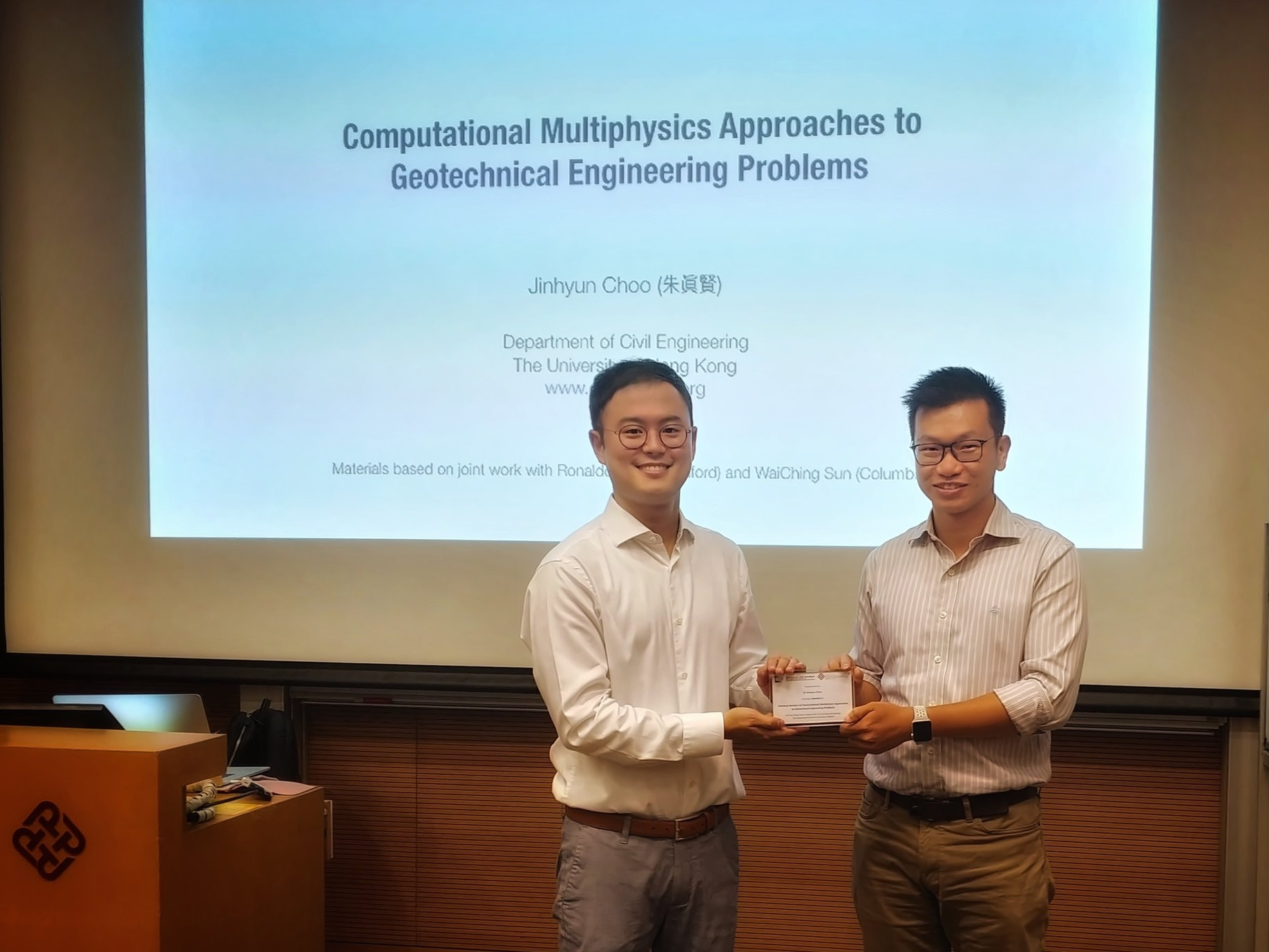 Photo after the seminar, with  Prof. Andy Y.F. Leung  at The Hong Kong Polytechnic University.