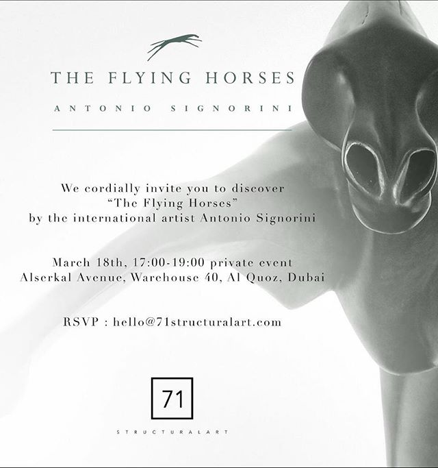 71 StructuralArt hosting the latest artworks by Italian Artist Antonio Signorini on March 18 at 5pm in warehouse 40 Al Serkal Avenue @alserkalavenue For RSVP please contact hello@71structuralart.com! #theflyinghorses #art #artistsoninstagram #artist #antoniosignorini #artlovers #artdubai #artdubai2019 #71structuralart #artexhibition #artexpo #artevents #alserkalavenue