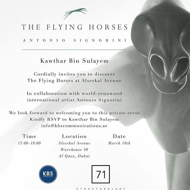 "#repost @kawtharbinsulayemofficial ・・・ I'm honoured to be co-hosting the unveiling of ""The Flying Horses"" by my good friend and internationally acclaimed artist, Antonio Signorini. If you haven't received your invite yet, please inbox me and I'lll take care of you. Hope to see you all there! _______________________________________________ #Art #TheFlyingHorses #Sculpture #Artist #ArtEducation #arts #artistsoninstagram #MyDubai #UAE #ArtSeason #Dubai #ArtDiplomacy #CreativeEconomy #abudhabi"